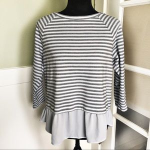 ☕️5/$25 Ann Taylor LOFT Striped Peplum Top